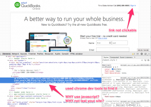 screenshot of the Intuit Quickbooks site being broken - login link does not work