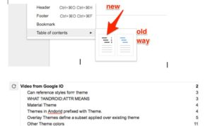 Screenshot showing the new option google docs table of contents with page numbers